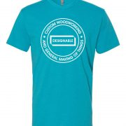 short sleeve crew neck tshirt in bondi blue with white designable logo