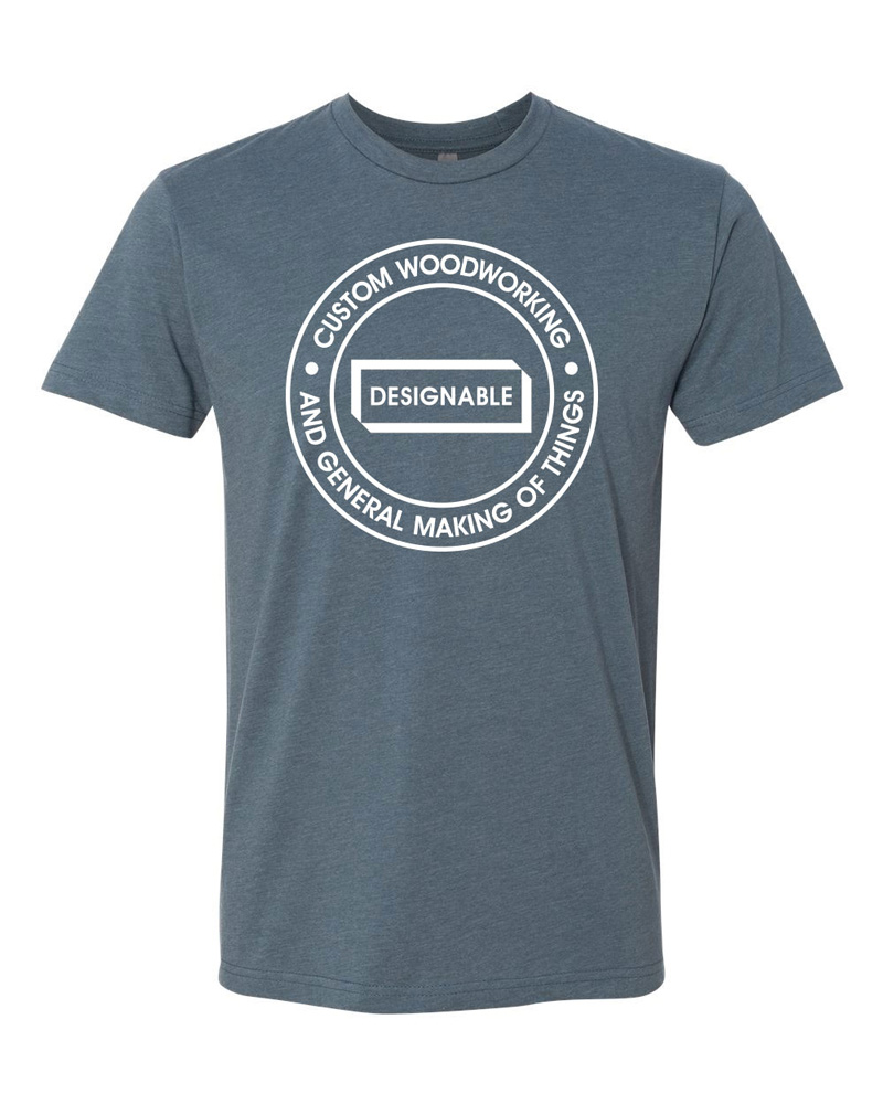 short sleeve crew neck tshirt in indigo with white designable logo