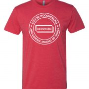 short sleeve crew neck tshirt in red with white designable logo