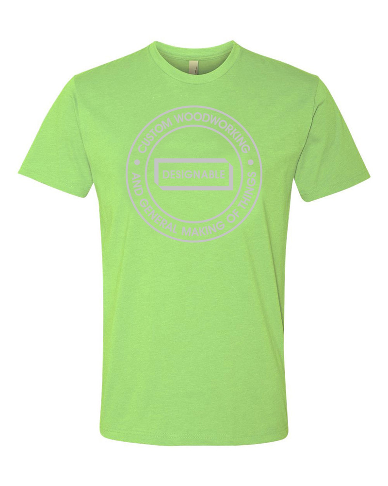 short sleeve crew neck tshirt in apple green with grey designable logo
