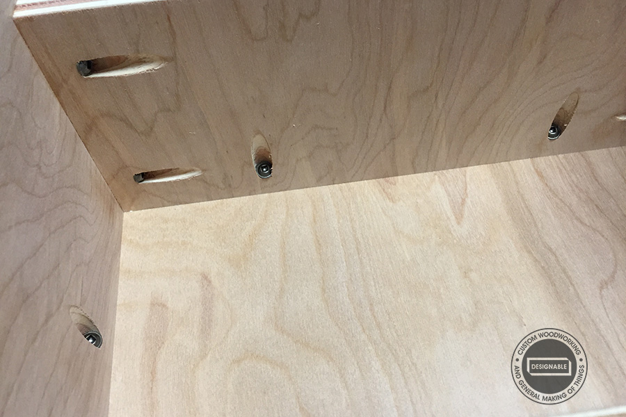 glue and screw the plywood pieces together using Kreg pocket hole screws
