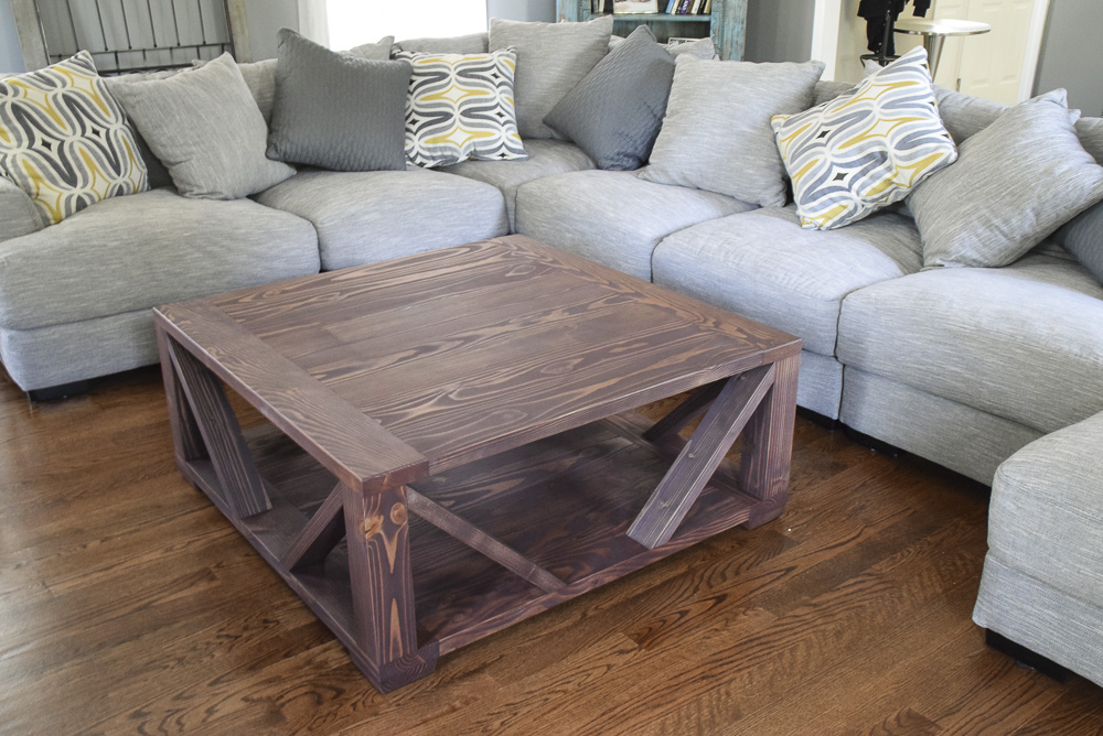 modern rustic farmhouse coffee table made of fir with brown finish