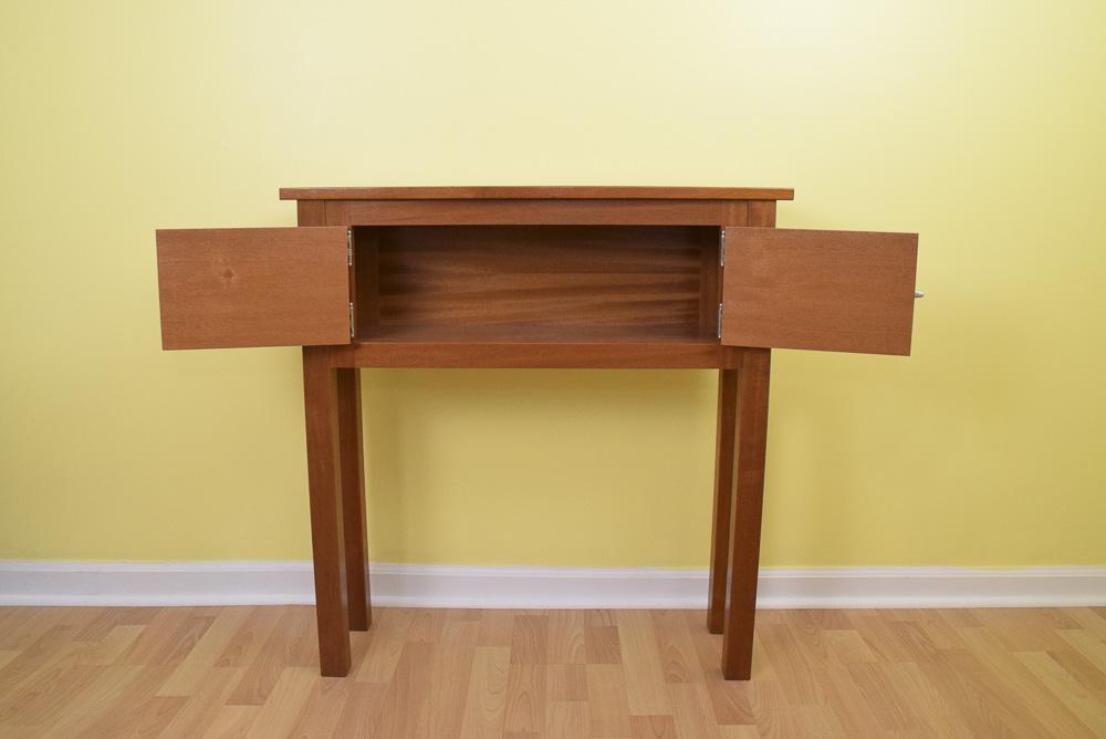 designable mahogany icebox with doors open