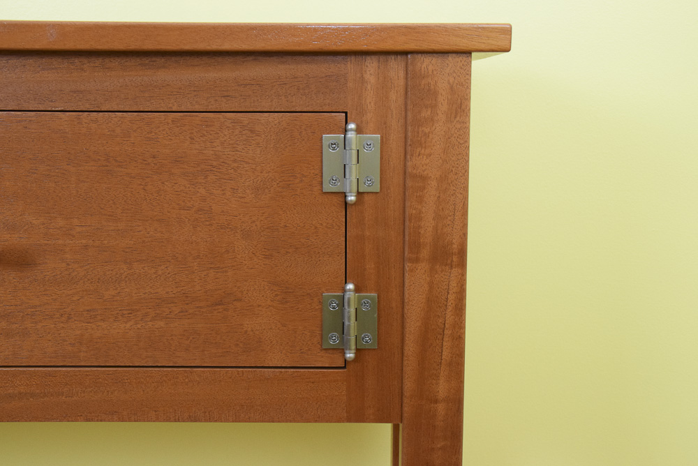 designable mahogany icebox hinge closeup