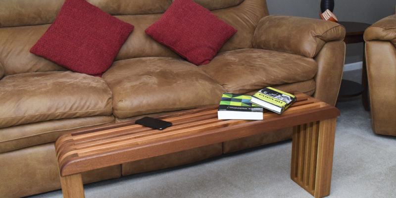 White Oak and Sapele Slat Coffee Table