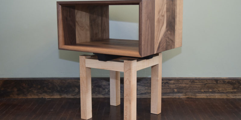 Walnut and Maple Modern Design Open End Table